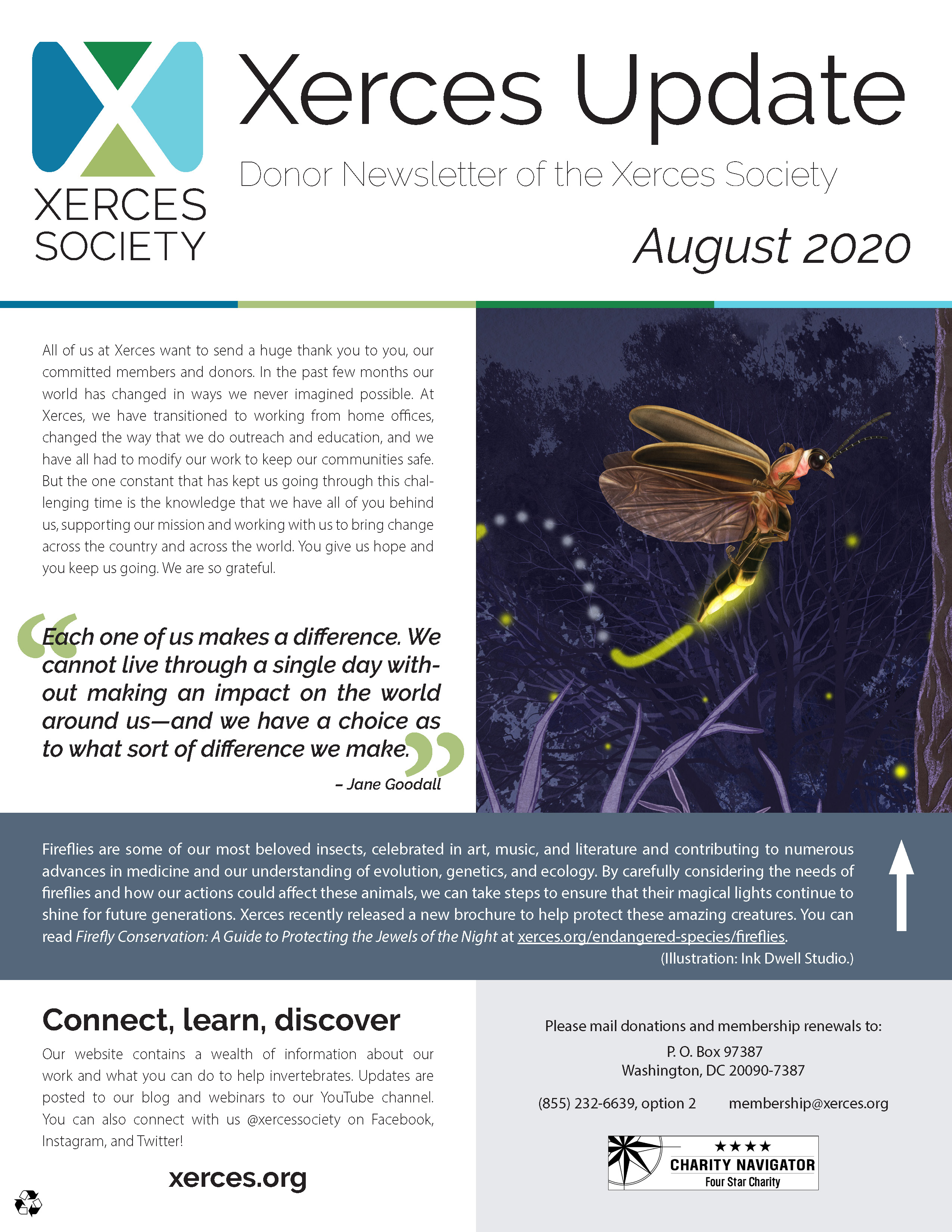 The cover of a Xerces Update is shown. A large image of a monarch cluster is shown.