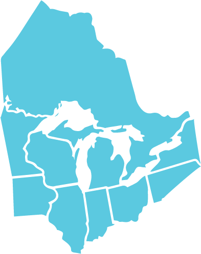 A map of the Great Lakes Region is shown: Ontario, Wisconsin, Michigan, Illinois, Indiana, Ohio, and parts of Minnesota, Iowa, New York, and Pennsylvania. This map is teal.