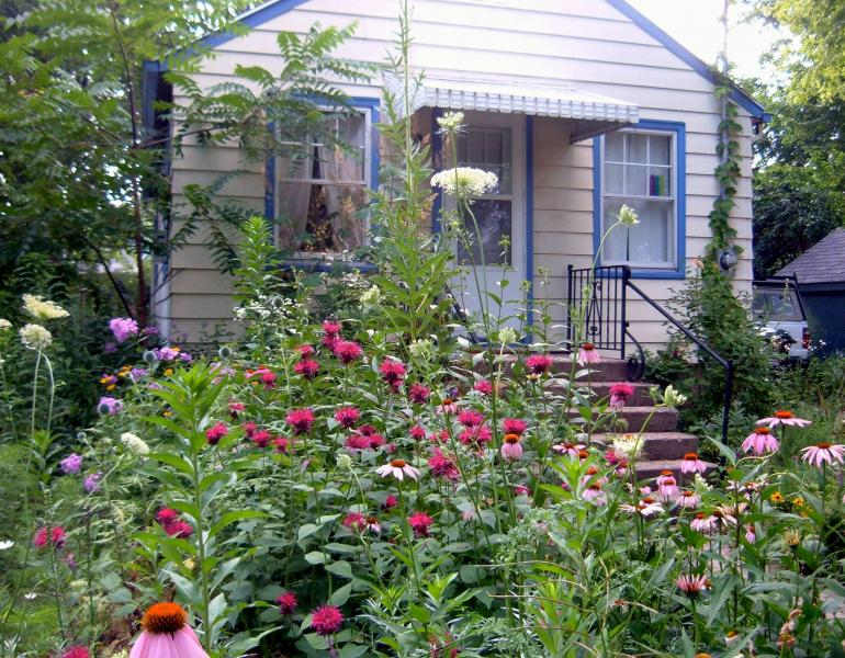 A small house with light paint and bright blue trim is dwarfed by the lush garden in the foreground, featuring flowers of a variety of shapes, sizes, and colors.