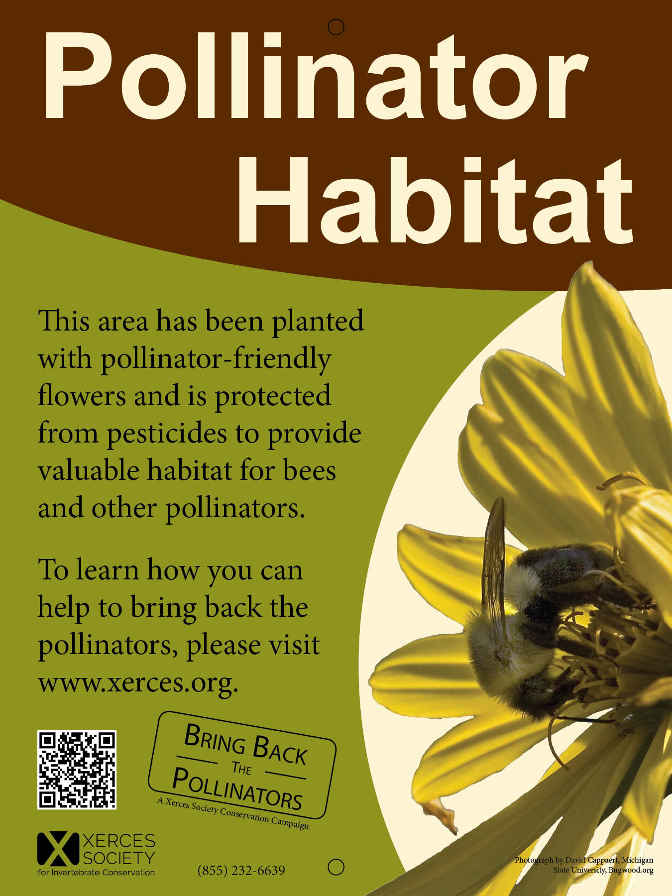 A Xerces Society Pollinator Habitat sign is shown.