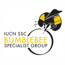 The IUCN Bumblebee Specialist Group logo, which has a stylized bumble bee perched on a circle, which partly intersects with text stating the name of the group.