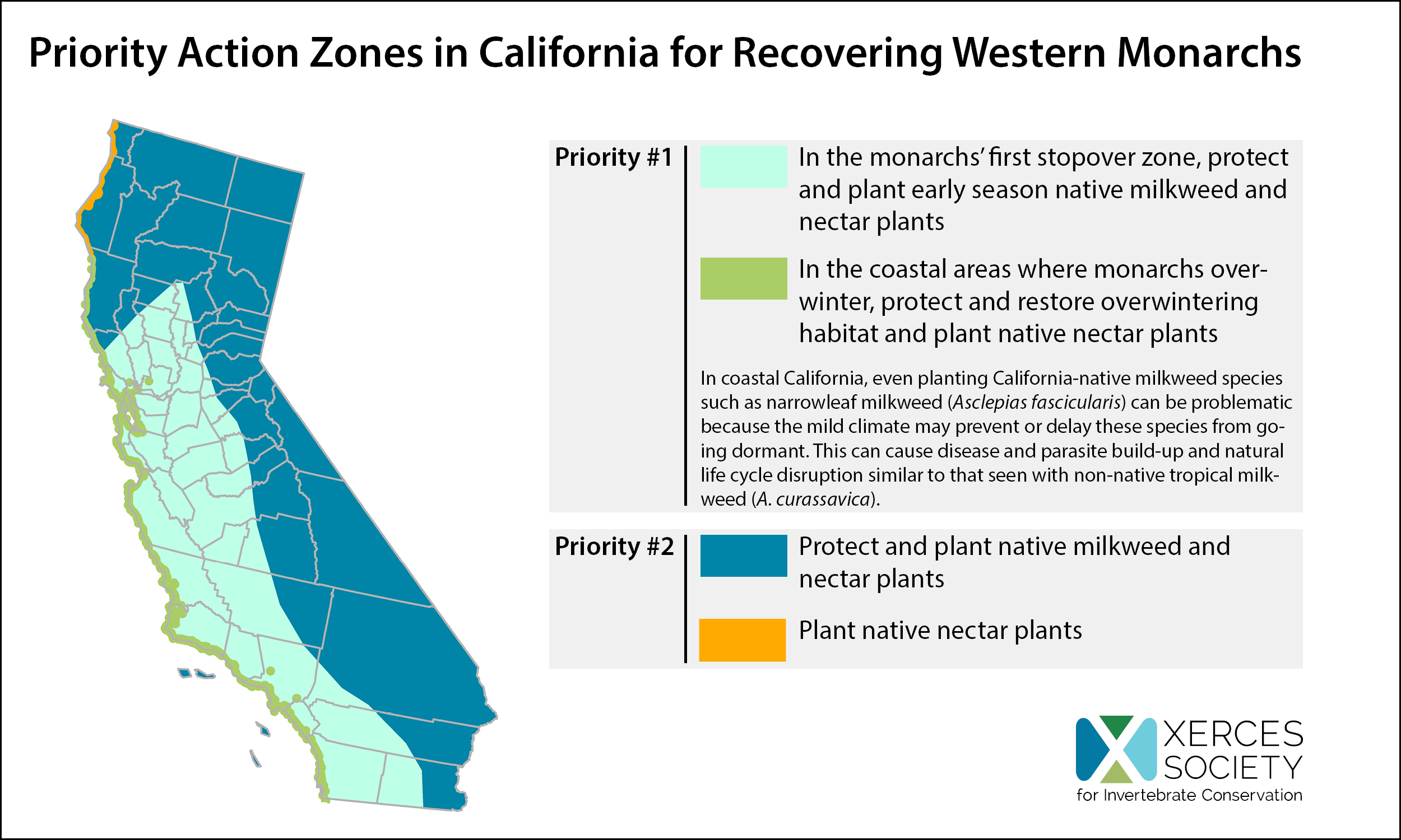 """Priority Restoration Zones in California for recovering western monarchs. The state is divided into four zones, each with its own priority actions."""