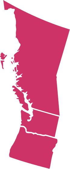 A map showing the Pacific Northwest Region: British Columbia, Washington, and Oregon. The map is dark pink/magenta.